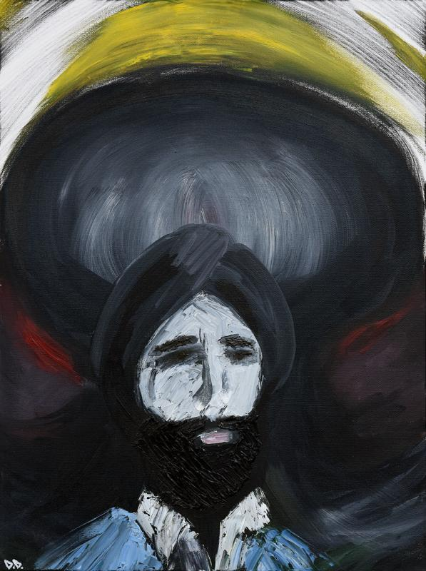 Waris Ahluwalia x Dr. Dope, oil painting