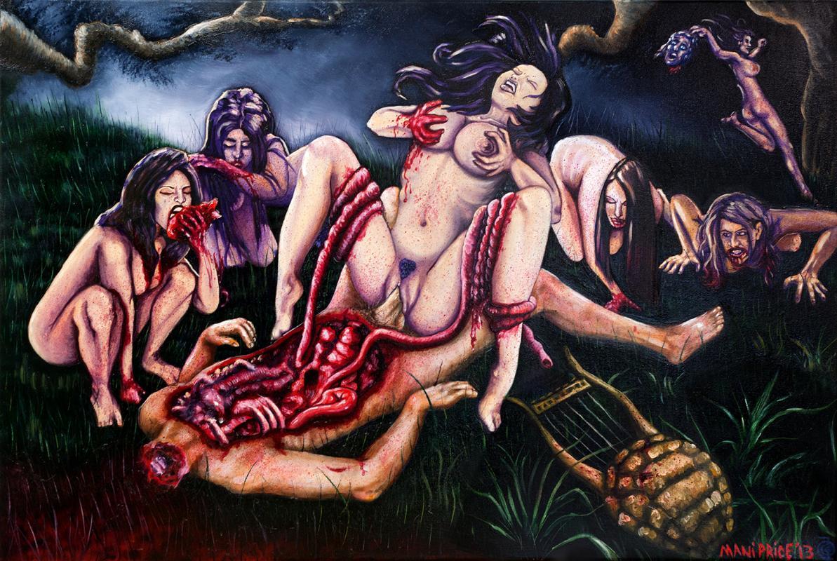 Rape of Orpheus, painting in oil