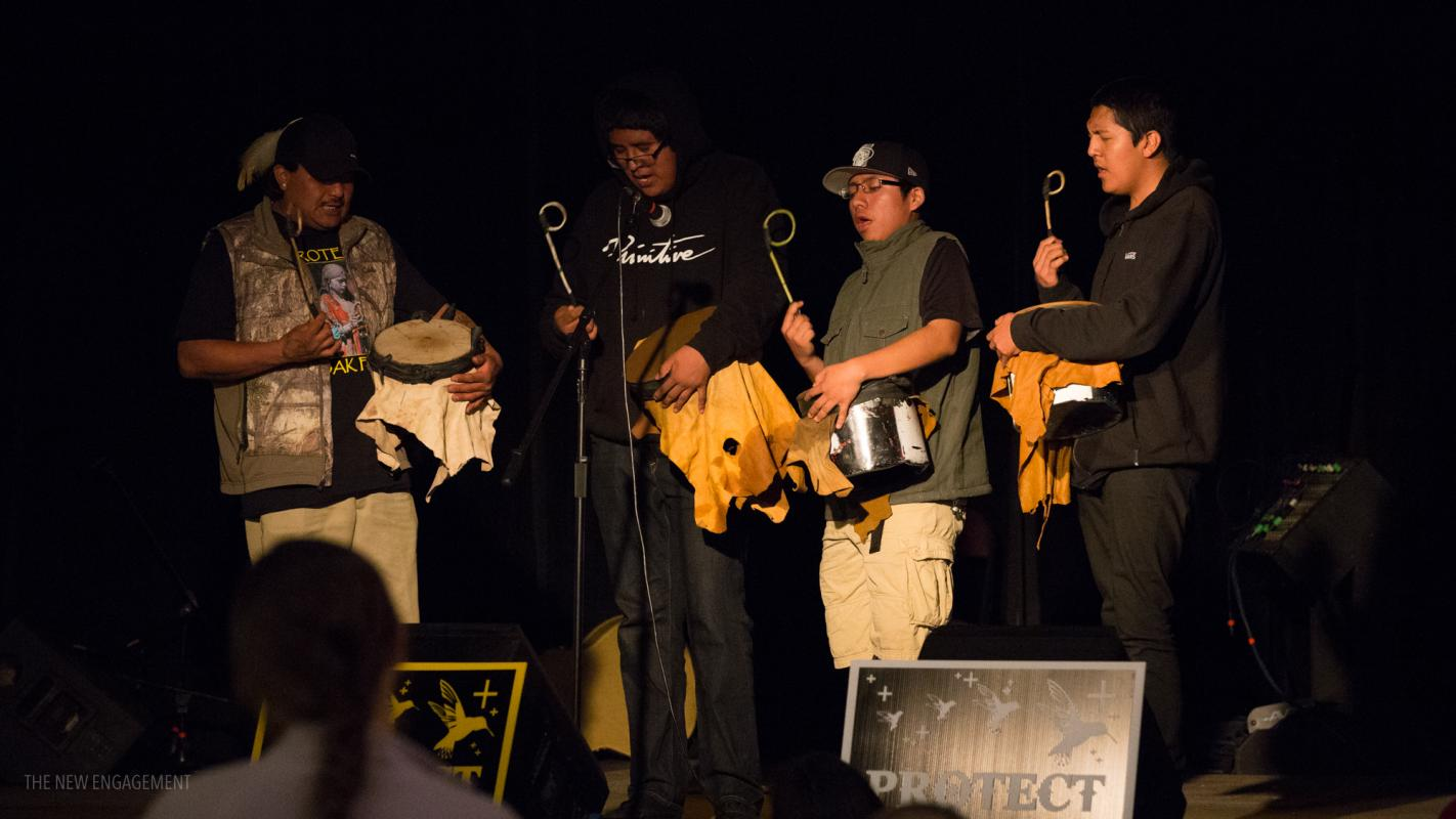 Traditional Apache drummers, Save Oak Flat