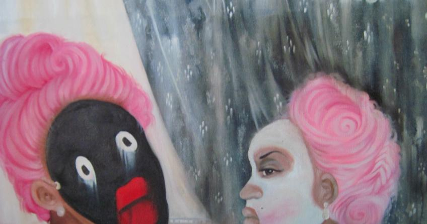 """""""A History: A Scourge of Antiblackness and Self Hate, Courtesy of Master Leeroy"""" by Ashley Doggett, detail"""